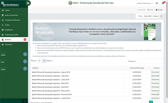 Boletins de Atualização – Nesta página são publicados e disponibilizados aos clientes os Boletins de Atualização que são mensais.
